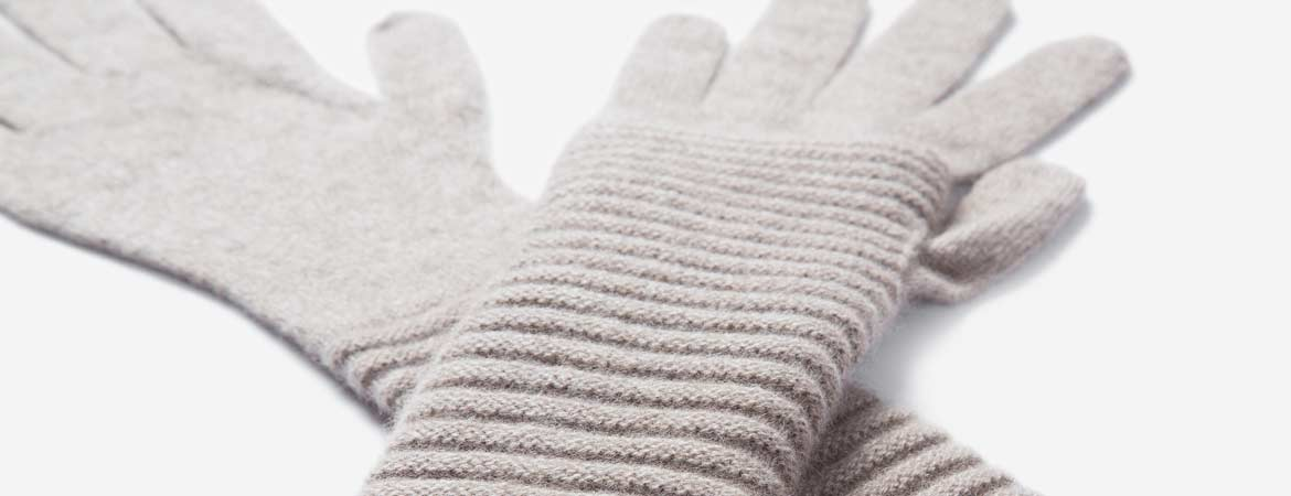Long Cashmere Ribbed Gloves